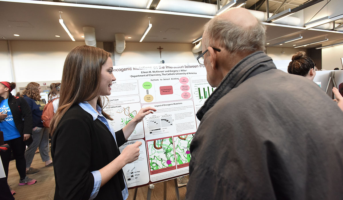 Student presenting a research poster at Research Day